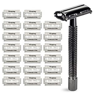 Safety Razor for Men, Nostalgic Butterfly Long Handle Double Edge Mens Razors with 20 Razor Blades, Warmlife Shaving Razors for Men
