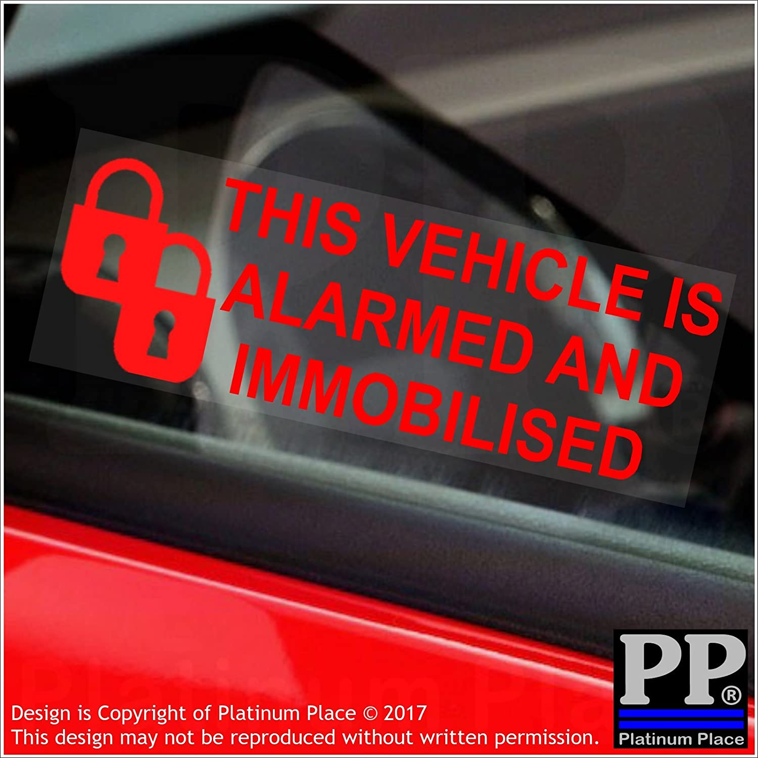 5 x Alarm and Immobiliser Fitted Stickers-PADLOCK-RED onto CLEAR-Alarmed and Immobilised Security Warning Window Signs-Car,Van,Truck,Caravan,Motorhome,Lorry,Taxi,Minicab,Automobile,Notice