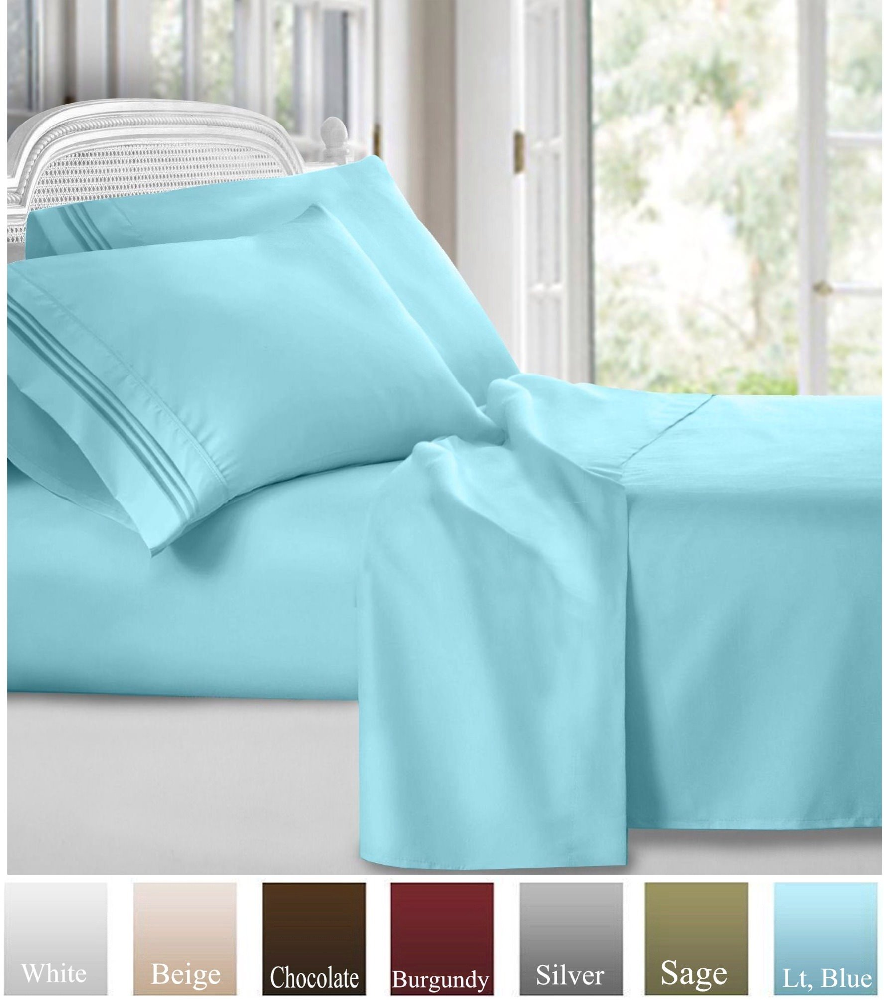 Ruthy's Textile Bed Sheet Set - Hotel Luxury Brushed Microfiber 1800 Bedding - Wrinkle, Fade, Stain Resistant - Hypoallergenic, Soft - Deep Pockets Sheets & Pillow Case Set - 4 Piece (Lt, Blue, King)