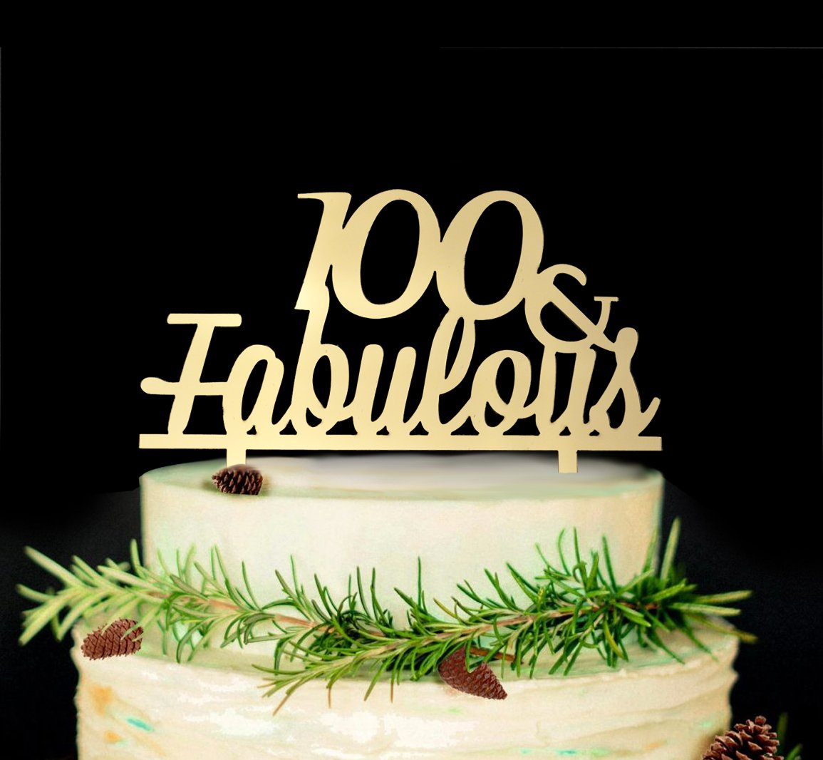 Amazon JustParty 100 Fabulous Cake Topper 100th Birthday Wedding Anniversary Party Decor Gold Kitchen Dining