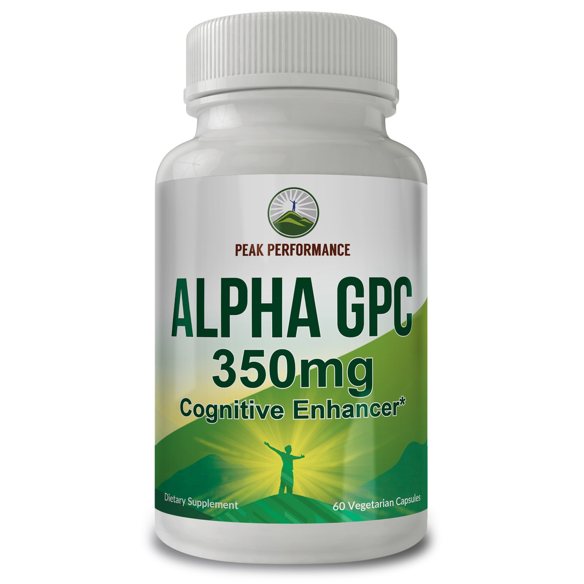 Alpha GPC 350mg Nootropic Cognitive Enhancer by Peak Performance with High Choline Bioavailability. for Memory, Attention & Neuroprotection. 60 Vegetarian Capsules