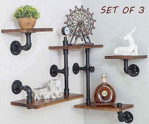 BIXIRAO Industrial Rustic Modern Wood Ladder Pipe Wall Mounted Shelf – Set of 3 Bookshelf,DIY Storage Shelving,Hung Bracket,Bookcase