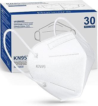 KN95 Face Mask 30 PCs, 5-Layer Black Face Mask for Men & Women Summer Model Filter Efficiency≥95% (White)