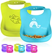 Otterlove Silicone Bib – with Reinforced Buttonholes – 100% Pure Platinum LFGB Silicone Bibs. NO fillers. No BPAs, BPS, Phthalates - Set of Two Waterproof Baby Bibs - Boys and Girls Bibs