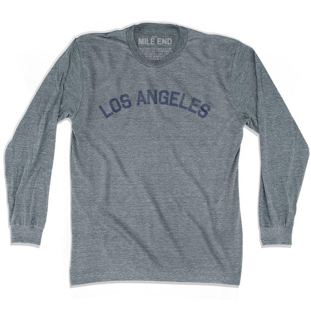 Los Angeles City Vintage T-shirt Long Sleeve Athletic Grey Adult