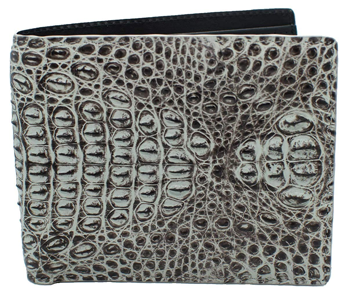 Authentic Elfano Crocodile Skin Mens Bifold Crocodile Head Section Natural White Wallet