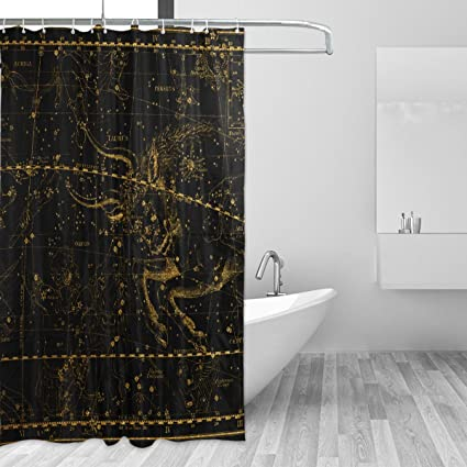 WIHVE World Map Constellation Shower Curtain Mildew Resistant Waterproof Bath Fabric For Bathroom Decorations In