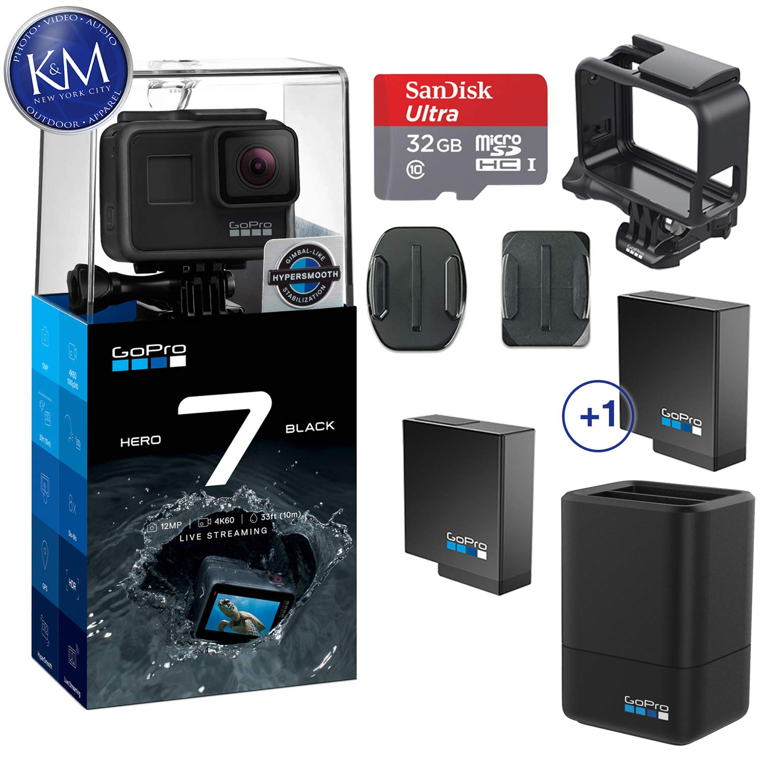 GoPro Hero 7 (Black) Action Camera w/Dual Battery Charger and Extra Battery Bundle by K&M