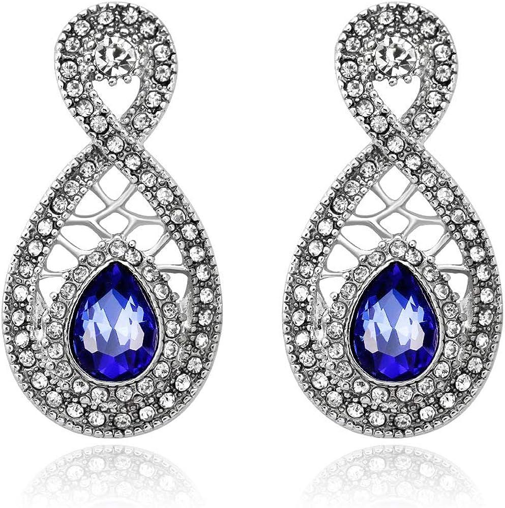 Pendientes flores caladas pendientes de gran tamaño pendientes de zafiro de diamantes vintage pendientes