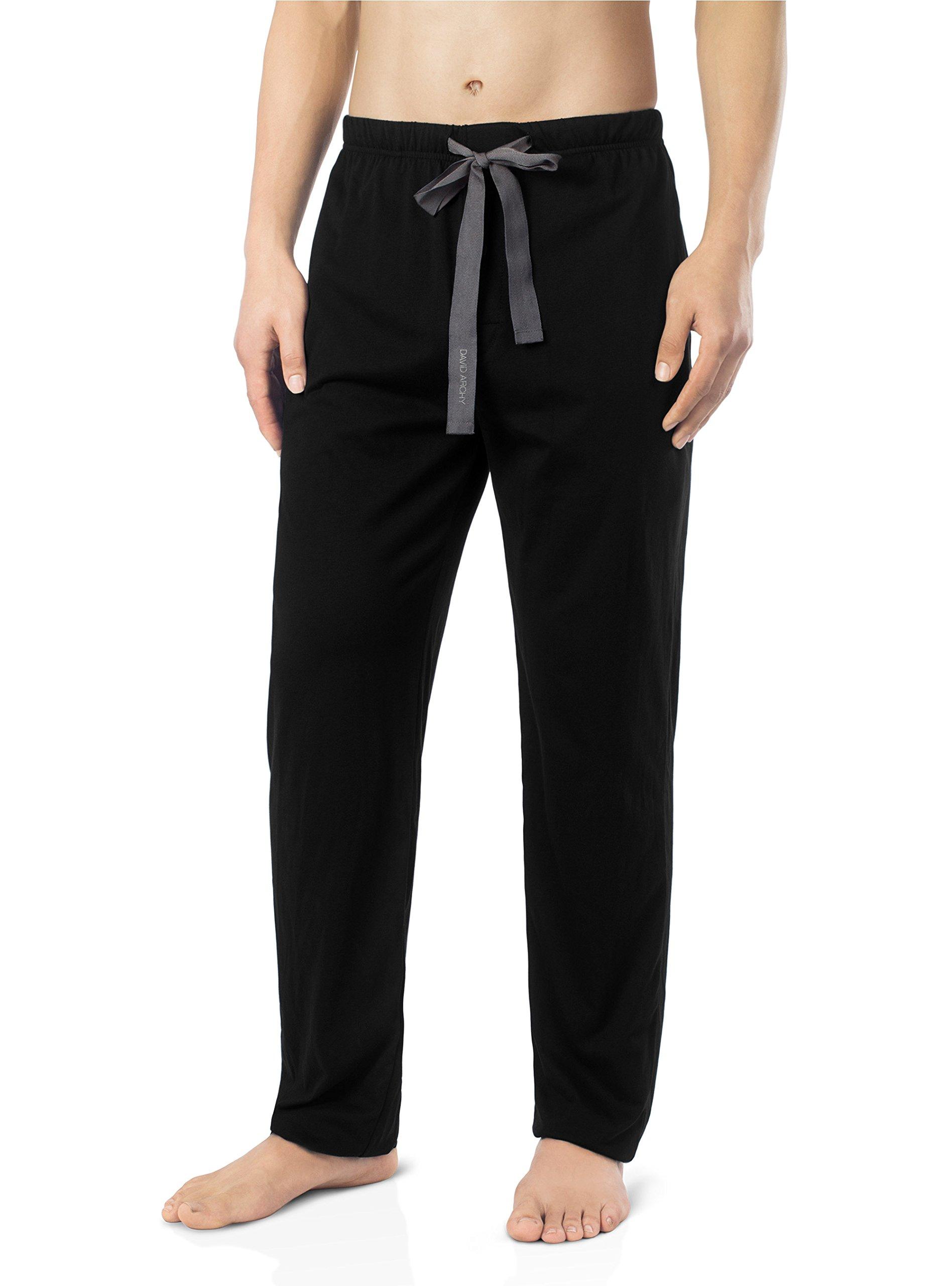 David Archy Men's Comfy Jersey Cotton Knit Pajama Lounge Sleep Pant in 1 Pack(M, Black)