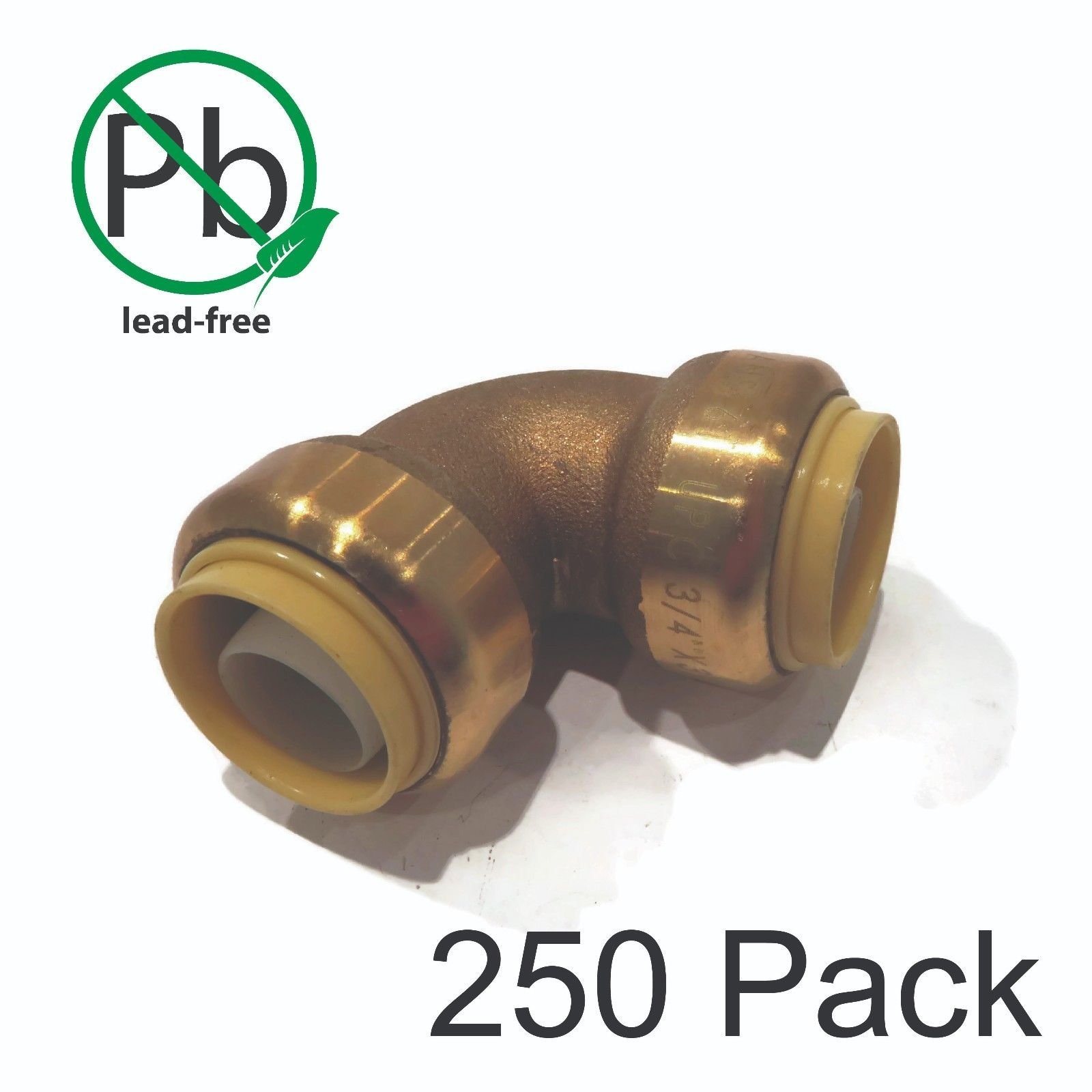 (250) 3/4'' SharkBite Style Push-to-Connect 90° LEAD FREE BRASS ELBOWS Fitting