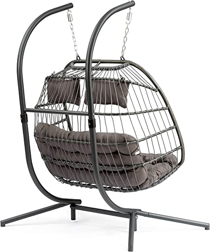 Brafab Luxury 2 Person Wicker Swing Chair Rattan X-Large Double Hanging Egg Chair with Stand, Aluminum Frame, Grey Cushion