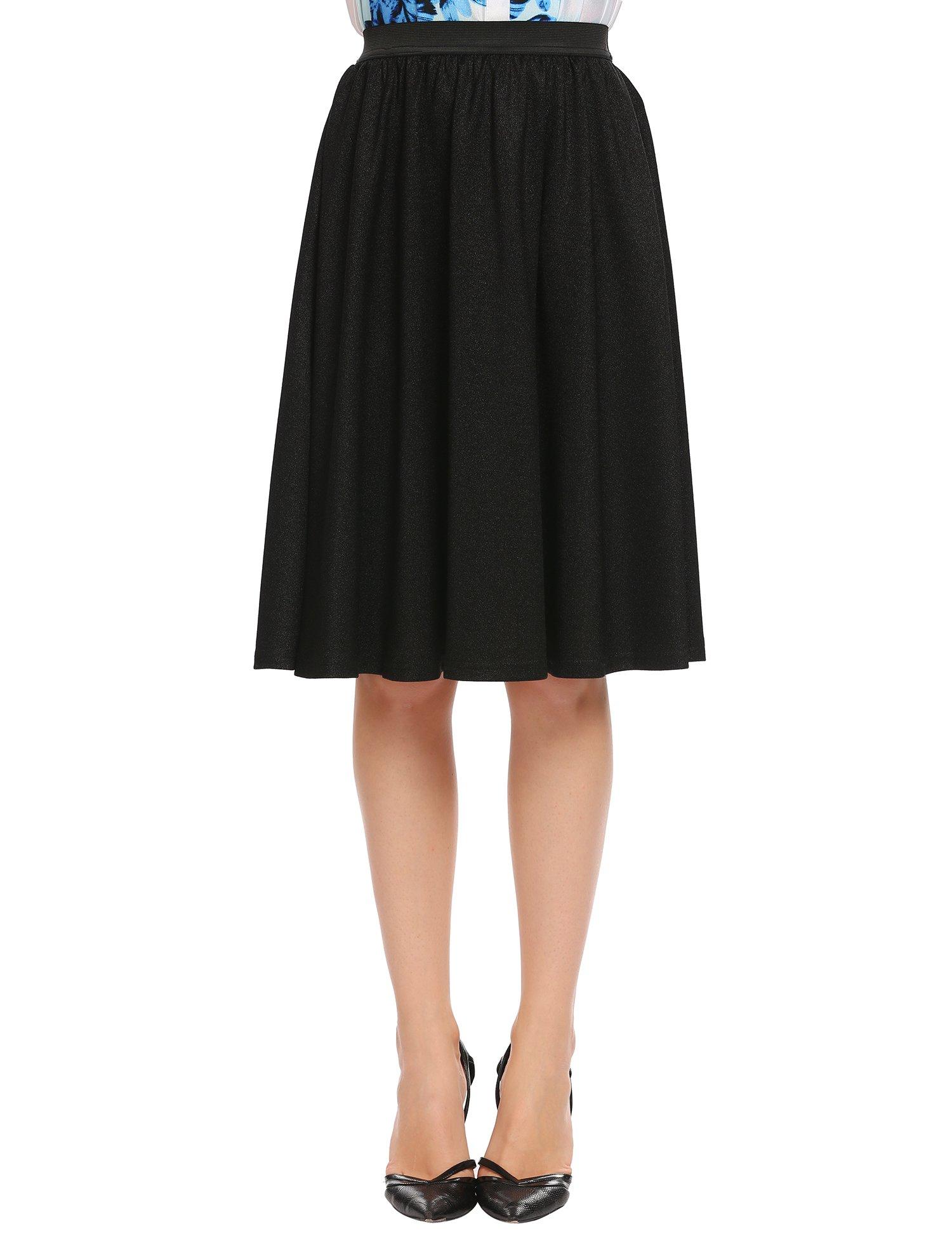 Zeagoo Women's High Waist Midi Long Pleated Skirt,Black,Medium