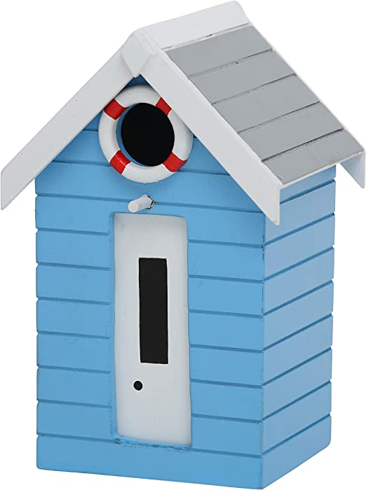 CasaJame Hogar Accesorios Decoración Jardín Casa para Pájaros en Forma de Torre de Vigilancia de Salvavidas Azul Claro Flotador Blanco Rojo 14x13x21cm: Amazon.es: Jardín