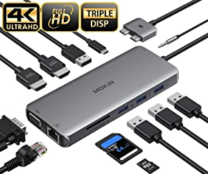 MacBook Pro Docking Station Dual Monitor MacBook Pro HDMI Adapter,12 in 1 USB C Adapters for MacBook Pro Air Mac HDMI Dock Dongle Dual USB C to Dual HDMI VGA Ethernet AUX 4USB SD/TF100W PD