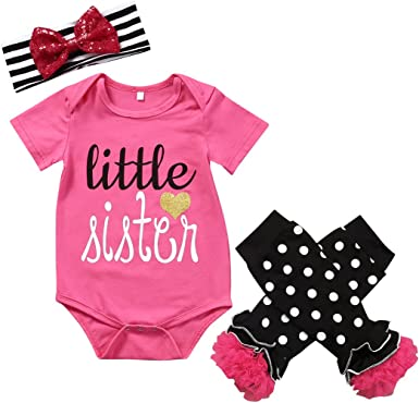 Cute Toddler Infant Kids Girl Clothes Romper+Leg Warmers+Bow Headband Outfit Set