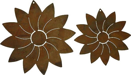 Grille moderne de 2 fleurs ornées de perles de décoration de jardin en  métal patiné