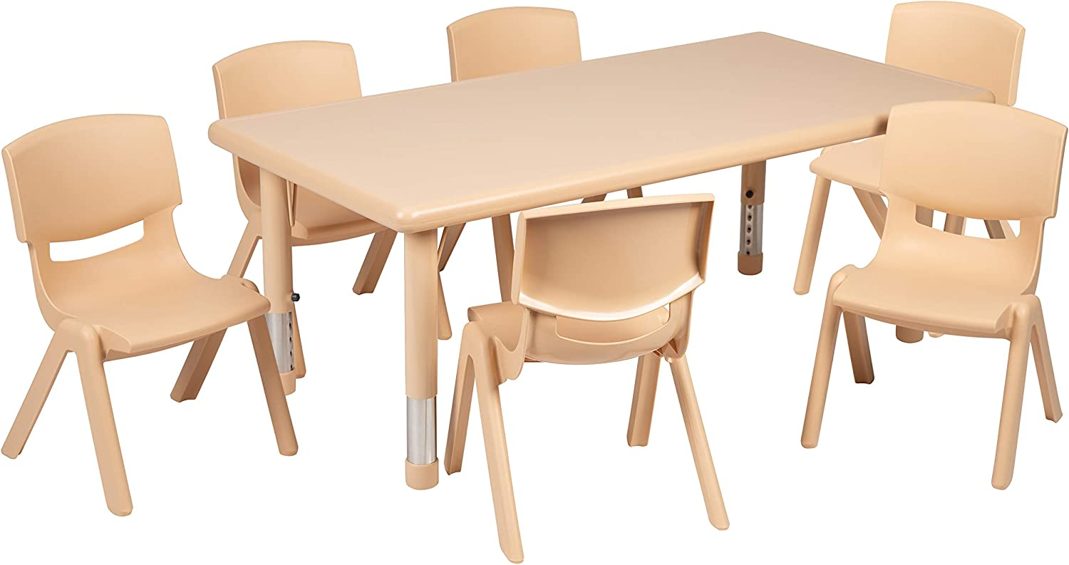 "Flash Furniture 24""W x 48""L Rectangular Natural Plastic Height Adjustable Activity Table Set with 6 Chairs"
