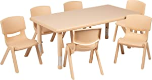 """Flash Furniture 24""""W x 48""""L Rectangular Natural Plastic Height Adjustable Activity Table Set with 6 Chairs"""
