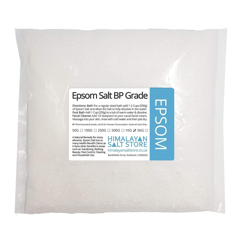 1KG | EPSOM SALT MAGENISUM SULPHATE | BP GRADE | Pharmaceutical, Bath, Cosmetic, Garden Himalayan Salt Store