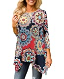 XUERRY Women Plus Size Sleeve Tunic Tops Loose Floral Print Shirt