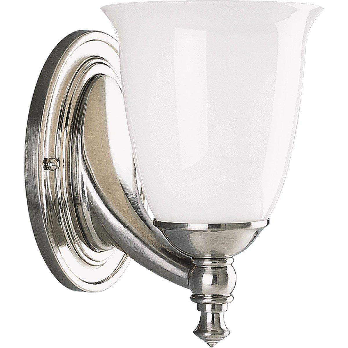 Progress Lighting P302709 1Light Bath Bracket With White Opal Glass Brushed Nickel  Vanity Fixtures Amazoncom