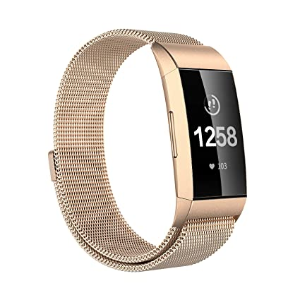 Issmolog Compatible for Fitbit Charge 3 Bands, Milanese Loop Stainless  Steel Magnetic Replacement Bands Compatible for Fitbit Charge 3