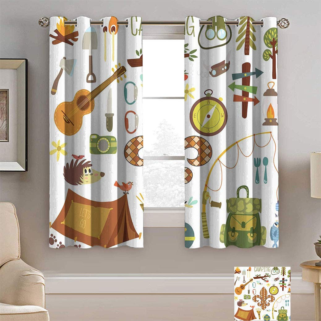 Fleur de Lis Blackout Curtains, Camping Equipments Boy Scout Campfire Symbol Fishing Lure Fancy Decorations Lake Window Drapery 2 Panels Set, Each Panel 36'' W x 63'' L Brown Mustard Green White by Alexdemo