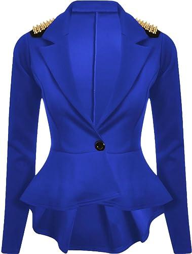 Ladies Frill Ruffle Bell Sleeve Peplum Blazer Top Women Coat Jacket UK 8-26