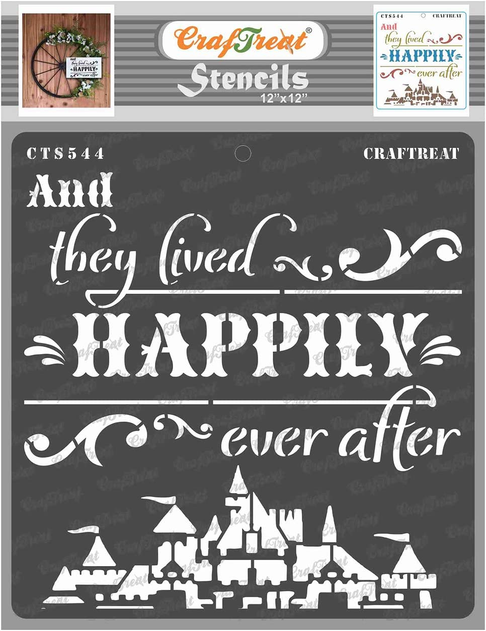 CrafTreat Home Stencils for painting on Wood, Canvas, Paper, Fabric, Floor, Wall and Tile - Happily Ever After - 12x12 Inch - Reusable DIY Art and Craft Stencils for Home Decor - Happy Words Stencils