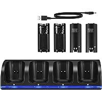 SOONHUA Oplaadstation voor Wii, 4 IN 1 oplaaddock, oplaadstation met 4 oplaadbare batterijen en LED-indicatoren voor Wii…