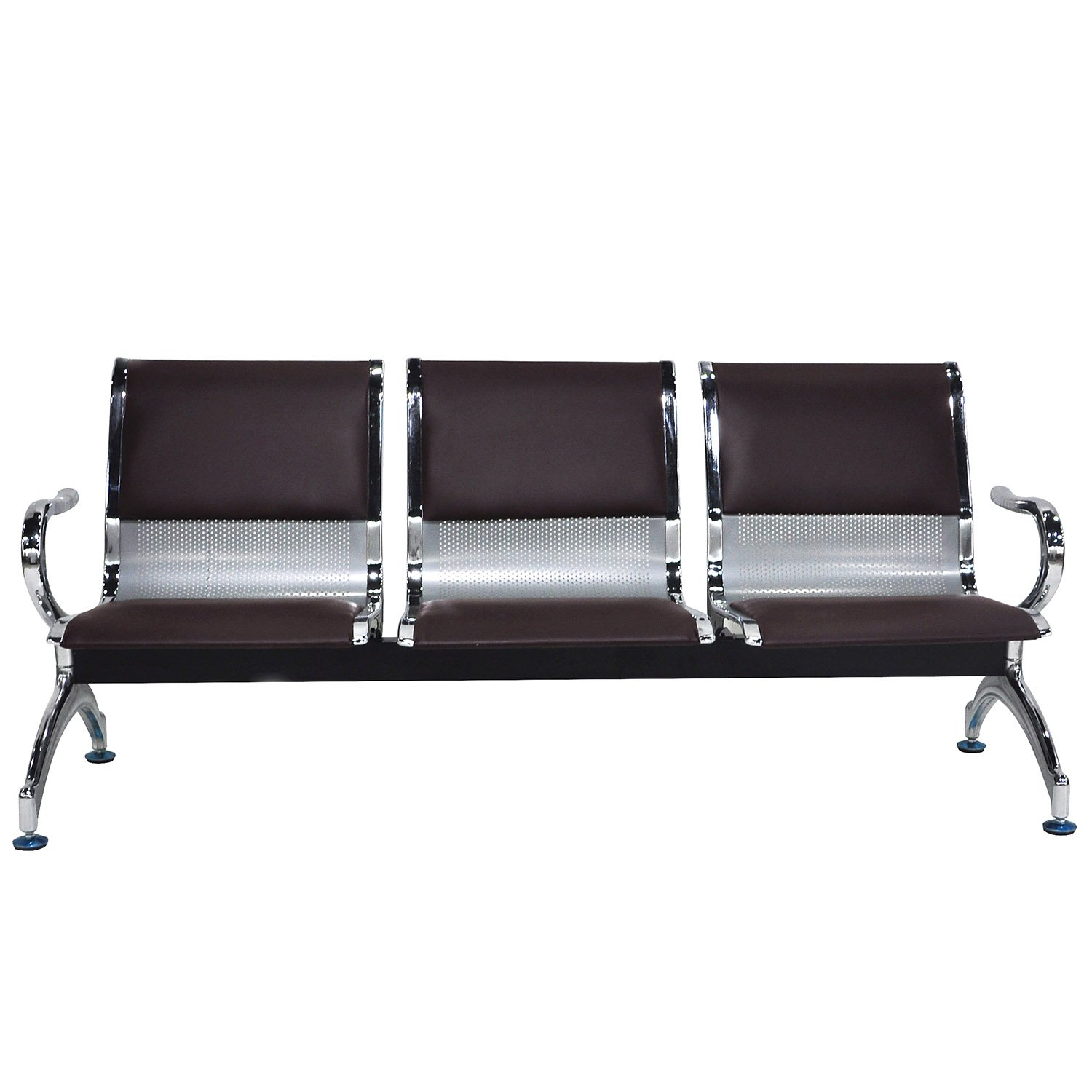 WALCUT Reception Airport Bank Waiting Room Chair Metal 3-Seat Bench w/Leather Cushion