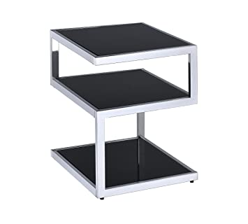 Acme Furniture 81848 Alyea End Table, One Size, Black Glass And Chrome