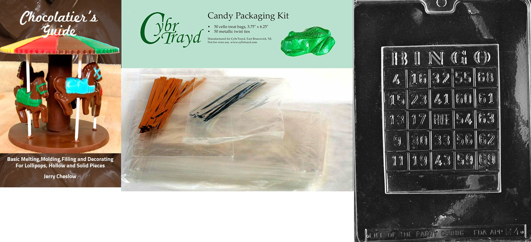 Cybrtrayd ''Bingo Card'' Miscellaneous Chocolate Mold with Chocolatier's Bundle, Includes 50 Cello Bags, 25 Gold and 25 Silver Twist Ties by CybrTrayd