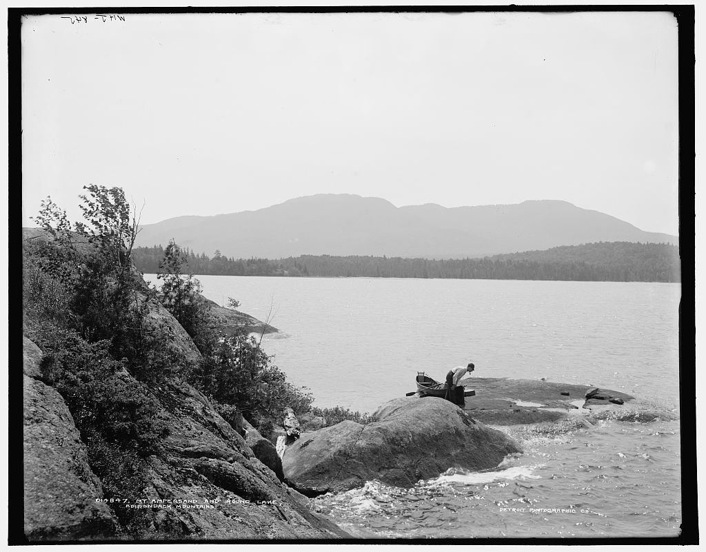16 x 20 Ready to Hang Canvas Wrap Mt Ampersand and Round Lake Adirondack Mountains 1902 Detriot Publishing 03a
