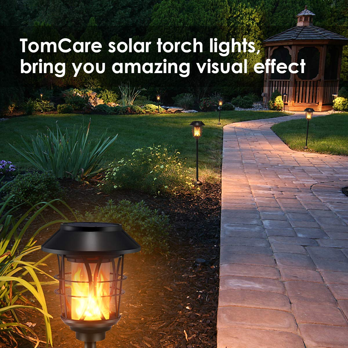 TomCare Solar Lights Metal Flickering Flame Solar Torches Lights Waterproof Outdoor Heavy Duty Lighting Solar Pathway Lights Landscape Lighting Dusk to Dawn Auto On/Off for Garden Patio Yard, 4 Pack by TomCare (Image #7)