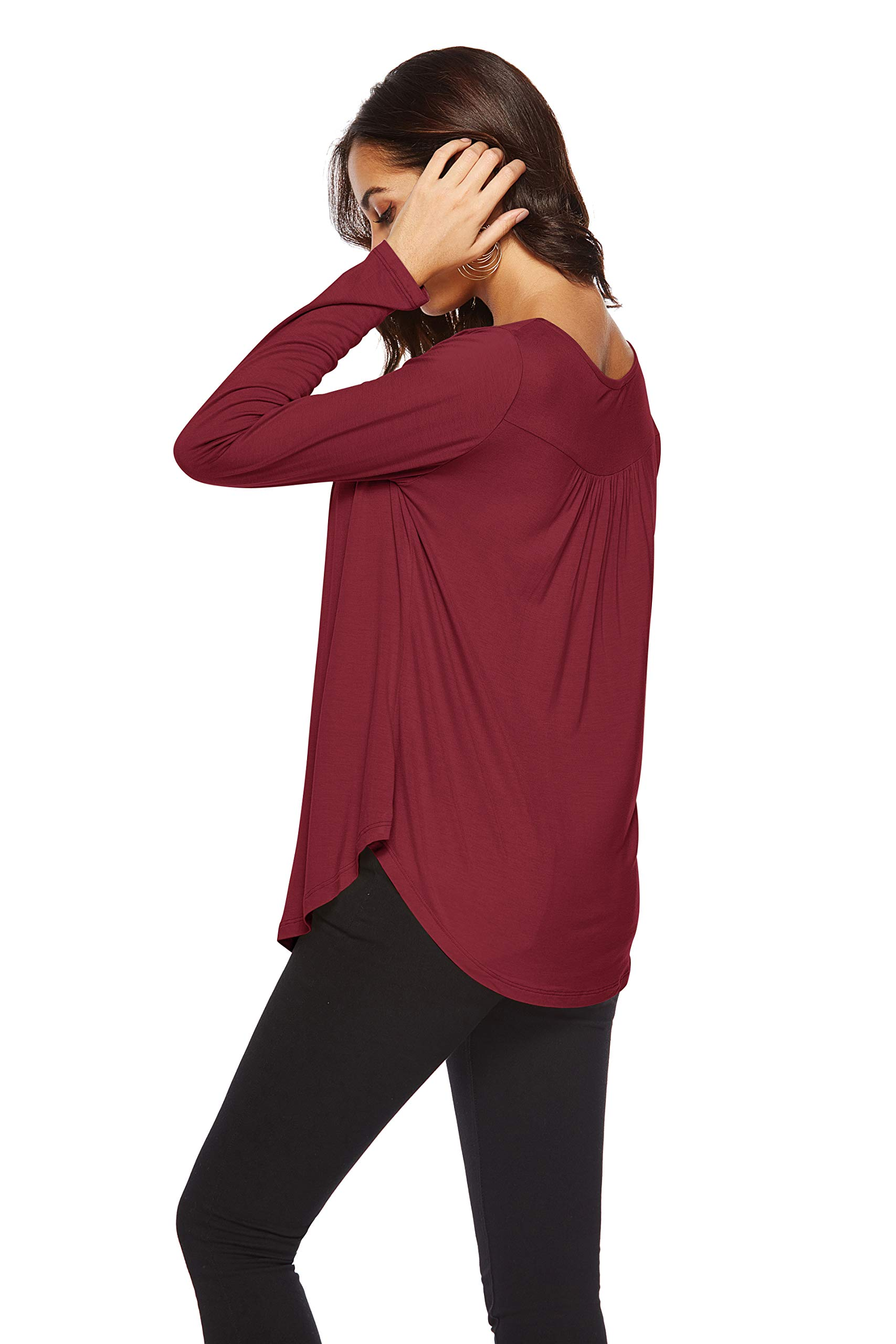 Eanklosco Womens Tops V Neck T-Shirts Swing Ruffle Blouses Button up Tunic Casual Flowy Long Sleeve (Wine Red, XL)