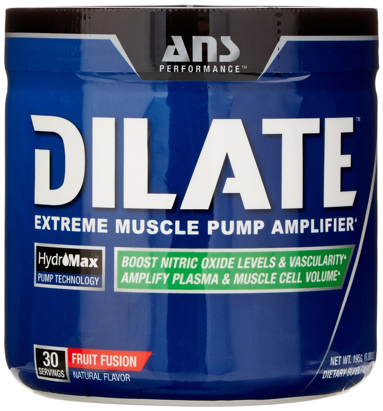 ANS Performance Dilate, Caffeine-Free Pre Workout & Nitric Oxide Booster, Extreme Muscle Pump Supplement, Fruit Fusion, 30 Servings