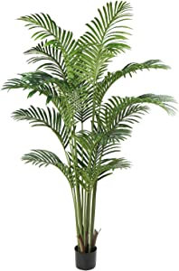 Artificial Palm Tree Plant Fake Tropical Bonsai 6ft with Black Pot for Outdoor Indoor Home Office Decorations