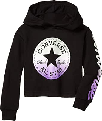 Converse Kids Girl's Metallic Chuck Patch Cropped Pullover Hoodie (Little Kids)