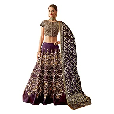48698a9ed8 Amazon.com: Purple Colored Heavy Embroidered Silk Net Designer Wedding  Lehenga Choli Indian Women Reception Dress 7532: Clothing