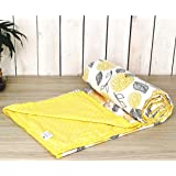 "Trance Home Linen 100% Cotton Single Dohar 56""X 90"" (Yellow White Flowers Abstract Reversible)"