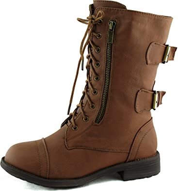 Amazon.com | Women's Combat Military Cowboy Mid Calf Rubber Sole ...