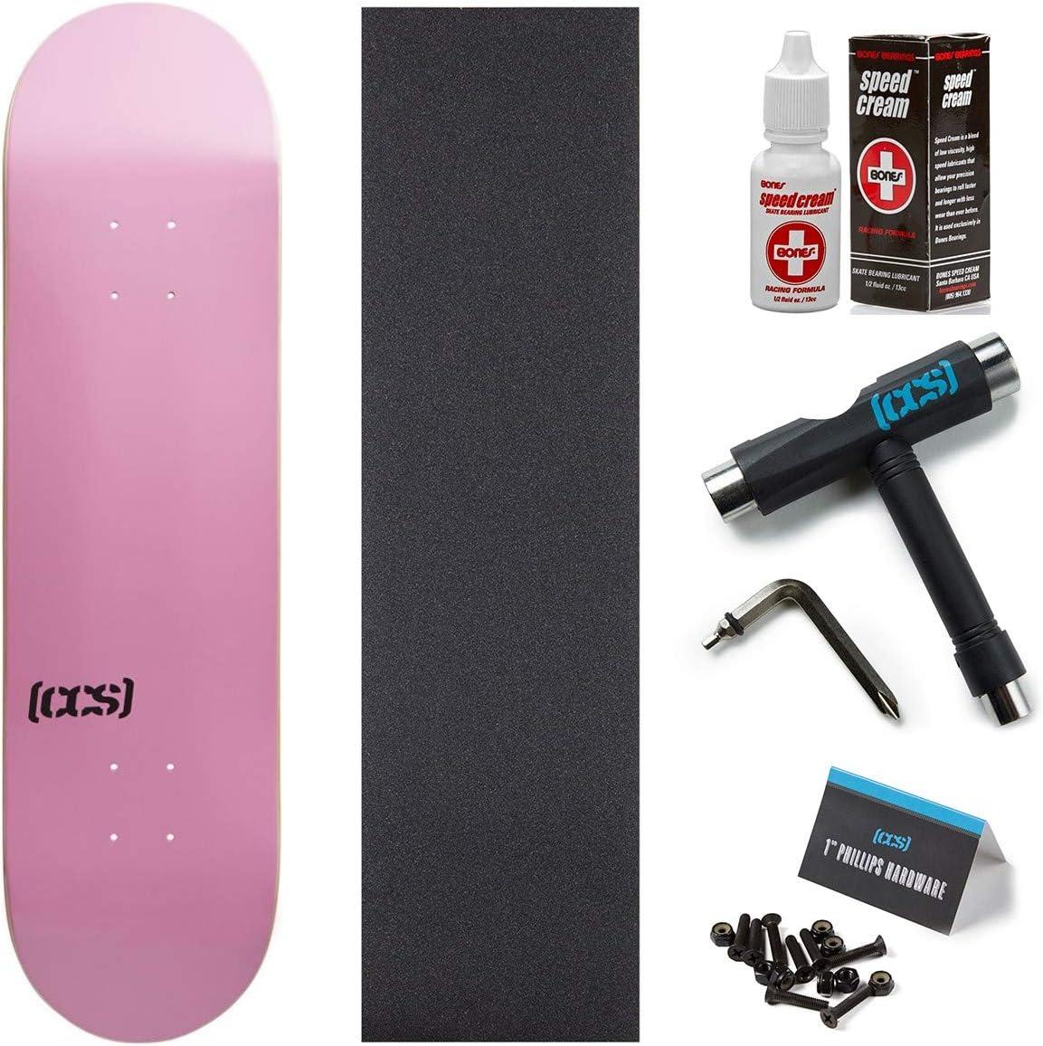 and 1 Hardware 7.75 with Bones Speed Cream Skate Tool Pink Grip CCS Logo Skateboard Deck