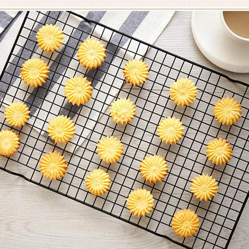 Knowooh Kitchen Craft Cooling Grill Metallic Grillrost Premium Non-Stick Cookie Baking Trays for baking biscuits and cakes Smoke Grilling Cooling 26x23cm