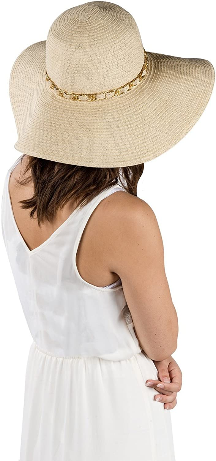 Aerusi Womens Straw Wide Brim Floppy Sun Hat Beach Garden Sun Hat with Chain Band