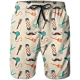 Men's Barber Swim Trunks Quick Dry Waterproof Bathing Suits Beach Short with Mesh Lining