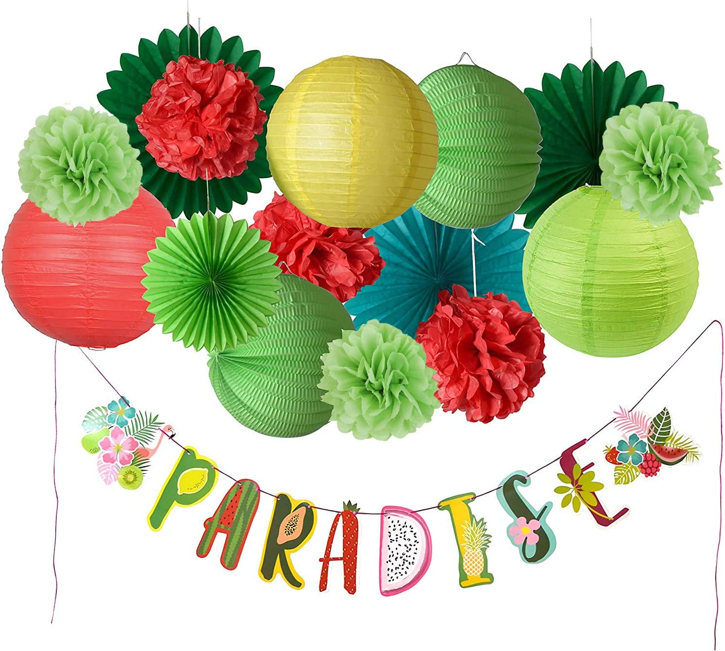 Paper Jazz Summer Party Decorations Pom Pom Paper Lanterns/Fans Paradise Banner kit for Hawaiian Tropical Fruit Theme Party Birthday Baby Shower Party Supplies