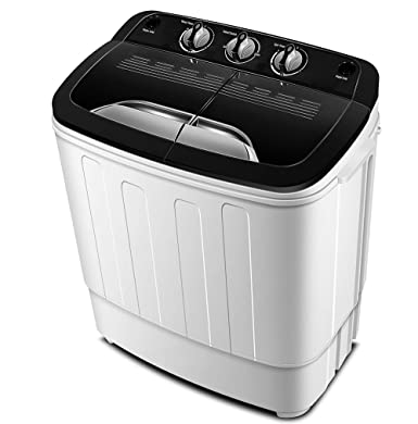 Portable Washing Machine TG23 – Twin Tub Washer Machine with Wash and Spin Cycle Compartments by ThinkGizmos Trademark Protected