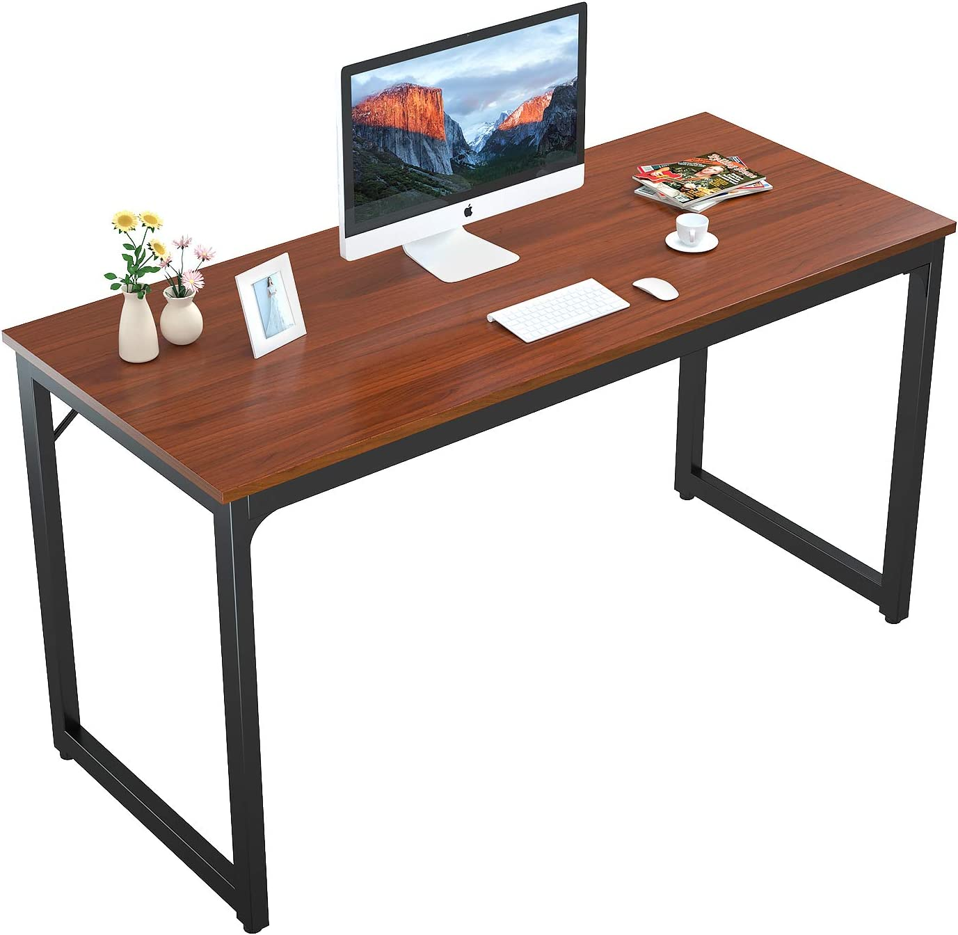"Foxemart 55"" Computer Desk Modern Sturdy Office Desk 55 Inch PC Laptop Notebook Study Writing Table for Home Office Workstation, Teak"